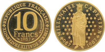Francie, 10 Frank 1987, Millenaire Capetien - 1000. výročí příchodu Kapetovců na francouzský t