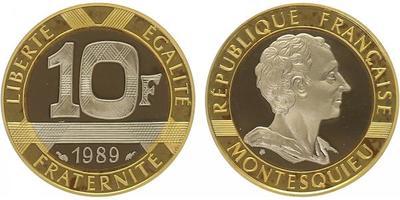 Francie, 10 Frank 1989, Au 0,750, Pd 0,150, Ag 0,100, 22,8mm