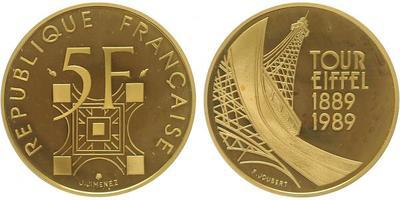 Francie, 5 Frank 1989, Tour Eiffel - 1889 - 1989, Au 0,920, 28,8 mm (14 g), kapsle, etue, cert