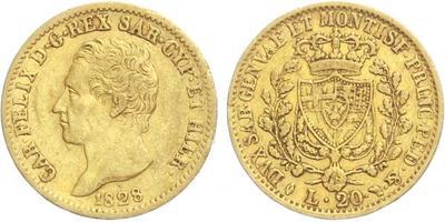 Itálie, 20 Lira 1828, Au 0,900, 21 mm