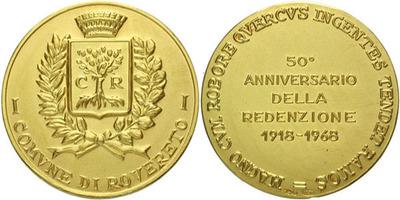 Itálie, Medaile 1968 - 50. výročí osvobození, Au 0,750, 29 mm (11,88 g)