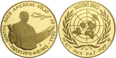 Itálie - Vatikán, Medaile 1963 - K návštěvě v OSN, Au 0,900, 45 mm (35,00 g)