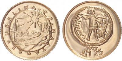 Malta, 25 Libra 1977, Au 0,917, 22 mm (7,99 g)