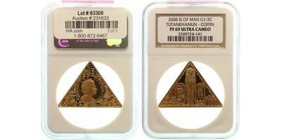 Man, 1/2 Koruny 2008 - Egyptský motiv, Au 0,999, 42 x 38 x 38 mm (15,56 g), PROOF