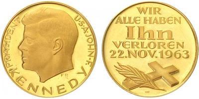 Medaile 1963 - J.F.Kennedy, Au 0,900, 26 mm (10,5 g), PROOF