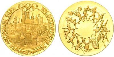 Medaile 1972 - Olympijské město - Mnichov, Au 0,9999, 26 mm (7,92 g), PROOF