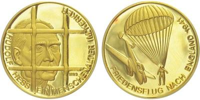 Medaile b.l. - Rudolf Hess - mírový let 1941, Au 0,9999, 25 mm (6,96 g), PROOF