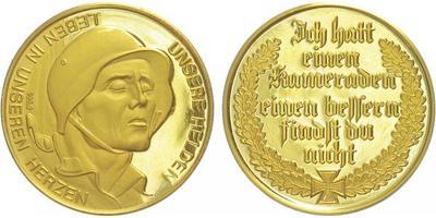 Medaile b.l. - vzpomínka na padlé, Au 0,9999, 25 mm (6,96 g), PROOF