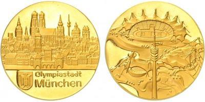 Medaile b.l. - Olympijské město - Mnichov, Au 0,9999, 26 mm (7,88 g), PROOF