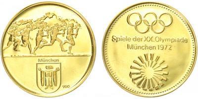 Medaile b.l. - OH Mnichov 1972, Au 0,900, 20 mm (3,5 g), PROOF