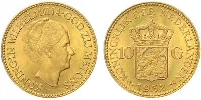 Nizozemí, 10 Gulden 1932, Au 0,900 (6,7290 g)