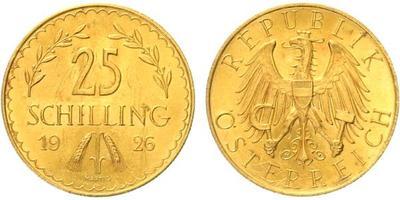 Rakousko, 25 Schilling 1926, Au 0,900, 21 mm (5,881 g)