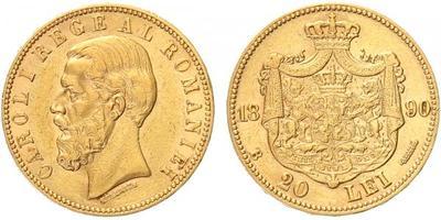 Rumunsko, 20 Lei 1890, Au 0,900, 20 mm (6,4516 g)