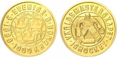Švédsko, 1000 Kronor 1989 - MS v hokeji 1989, Au 0,900 (5,80 g)