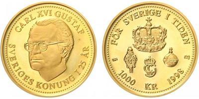 Švédsko, 1000 Kronor 1998 - 25. výročí vlády Karla XVI., Au 0,900 (5,80 g)