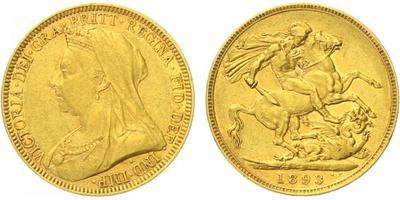 Velká Británie, Sovereign 1893, Au 0,917, 22 mm (7,9881 g)