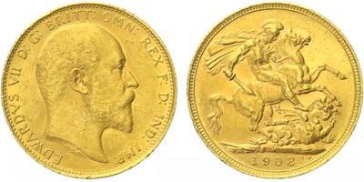 Velká Británie, Sovereign 1908 - Au 0,917, 22 mm (7,9881 g)