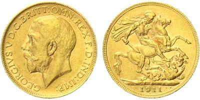 Velká Británie, Sovereign 1911 - Au 0,917, 22 mm (7,9881 g)