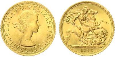 Velká Británie, Soverign 1966, Au 0,917 (7,9881 g)