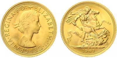 Velká Británie, Soverign 1967, Au 0,917 (7,9881 g)