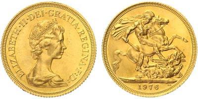 Velká Británie, Soverign 1976, Au 0,917 (7,9881 g)