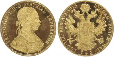 4 Dukát 1915 - novoražba, Au 0,986 (13,96 g)