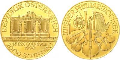 2000 Schilling 1990 - Vídeňská filharmonie, Au 0,9999 (31,101 g), 1 OZ