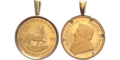1/2 Krugerrand 1992 v rámečku, Au 0,917 (16,965 g), 1/2 OZ, rámeček Au 0,333, celková
