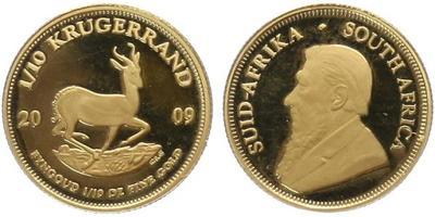1/10 Krugerrand 2009 - etue a certifikát, Au 0,917 (3,393 g), PROOF