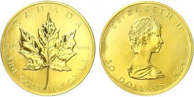 50 Dollar 1989 - Au 0,999, 1 Oz. (31,1 g)