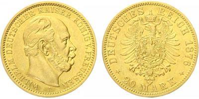 20 Marka 1876 A, Au 0,900 (7,965 g)