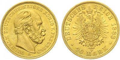 20 Marka 1883 A, Au 0,900 (7,965 g)
