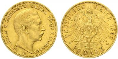 20 Marka 1892 A, Au 0,900 (7,965 g)