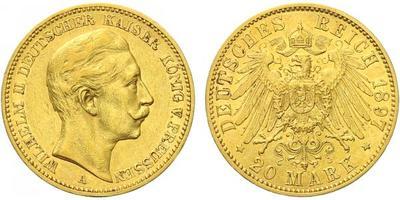 20 Marka 1897 A, Au 0,900 (7,965 g)
