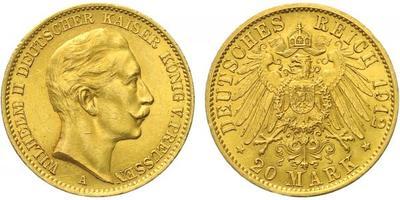 20 Marka 1912 A, Au 0,900 (7,965 g)