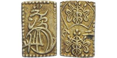 Japonsko, 2 Bu, asi 1860, Au 0,229, Ag 0,771, 20 x 13 mm (2,88 g)