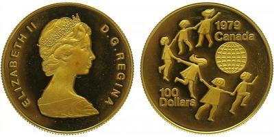 Kanada, 100 Dollar 1979 - Mezinárodní rok dítěte, Au 0,9167, 17 mm (16,9655 g)