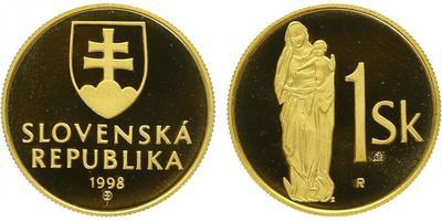Au Medaile 1998 - Zlatý odražek slovenské jednokorunové mince, PROOF