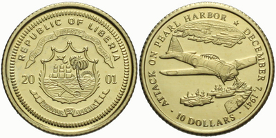 Libérie, 10 Dollar 2001 - Bitva o Pearl Harbor, Au 0,585, 11 mm (0,50 g)