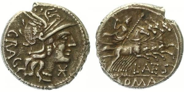 L. Antestius Gragulus - Denár, Hlava Romy, GRAG / Jupiter na quadrize, L ANTES ROMA, Alb.904