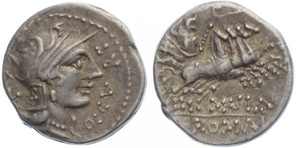 Cn. Domitius Ahenobarbus, Q. Curtius, M, Junius Silanus - Denár, A.1054
