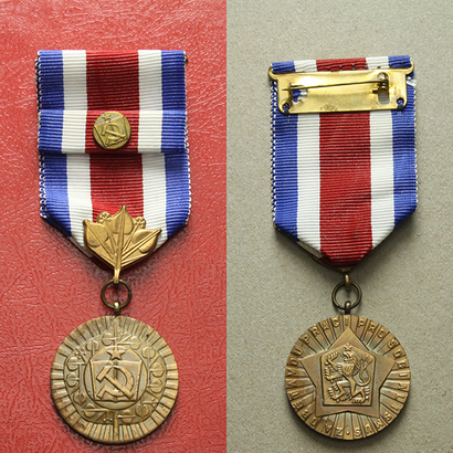 Medaile Za obětavou práci pro socialismus, VM.62, stužka s miniaturou,pův. etue
