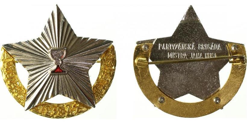 Pamětní odznak partyzánské brigády mistra Jana Husi, zlacený bílý kov, VM142