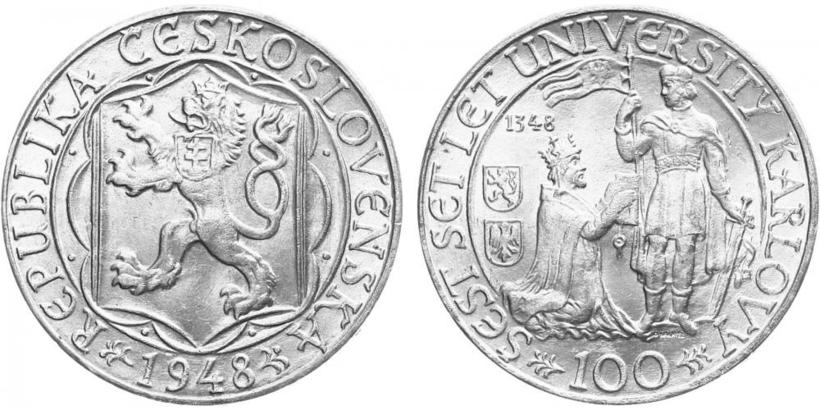 100 koruna 1948 - 600. výročí založení University Karlovy