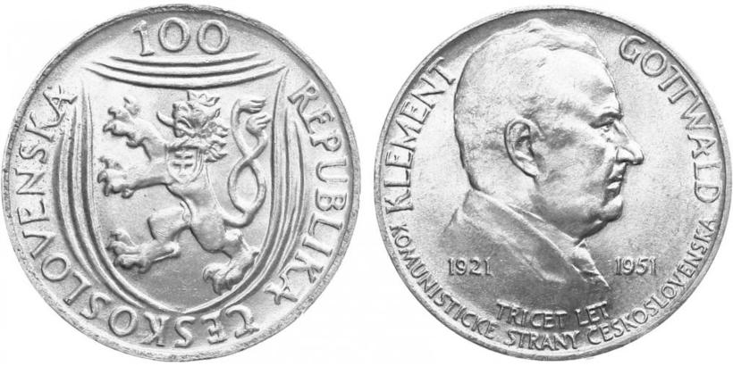 100 koruna 1951 - 30. výročí založení KSČ