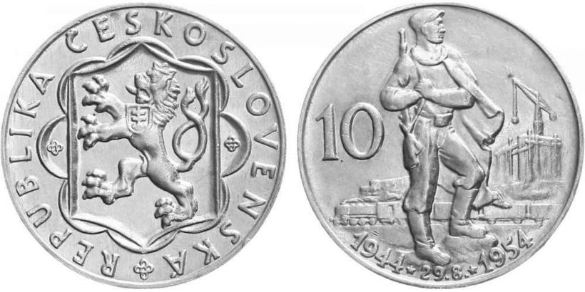 10 koruna 1954 - 10. výročí SNP