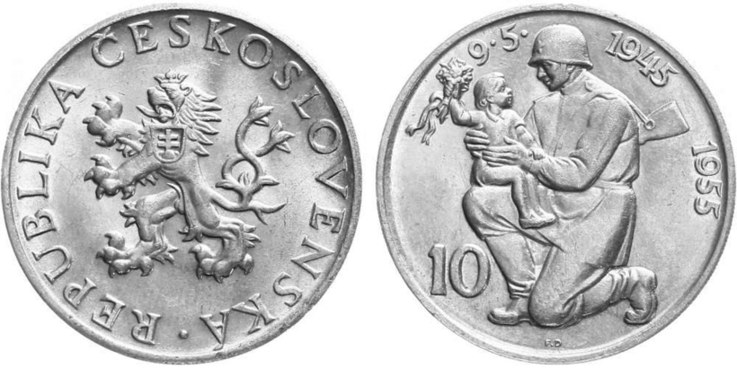 10 Koruna 1955 - 10. výročí osvobození Československa
