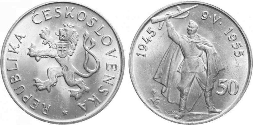 50 Koruna 1955 - 10. výročí osvobození Československa