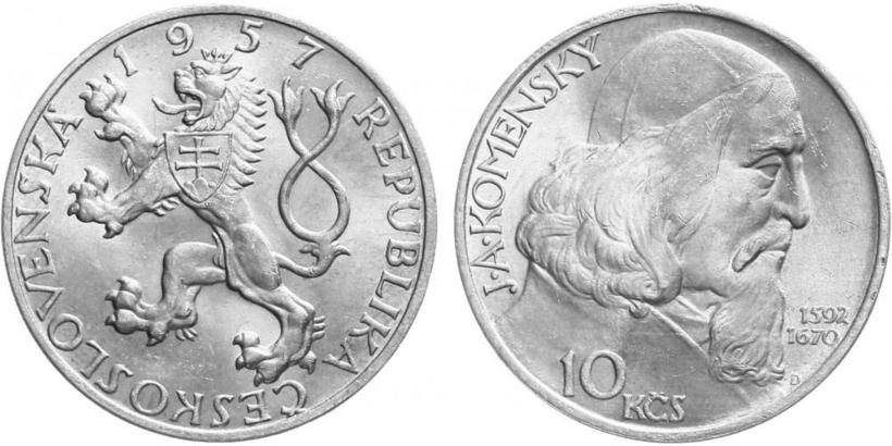 10 Koruna 1957 - Oslavy Jana Amose Komenského