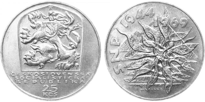 25 Koruna 1969 - 25. výročí SNP